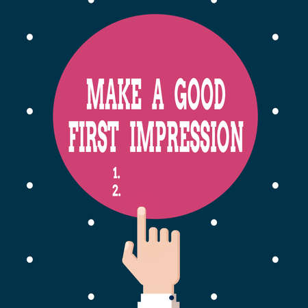 Writing note showing Make A Good First Impression. Business concept for Introduce yourself in a great look and mood Hand Pointing up Index finger Touching Solid Color Circle