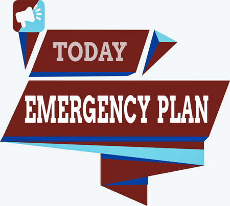 Text sign showing Emergency Plan. Business photo text instructions that outlines what workers should do in danger Quadrangular Abstract Shape Formation Horizontal Graphic Outline Megaphone Stock Photo