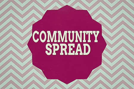 Word writing text Community Spread. Business photo showcasing dissemination of a highlycontagious disease within the local area Twelve 12 Pointed Star shape Dodecagon in Solid Color Zigzag effect Polygon