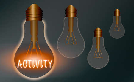 Conceptual hand writing showing Activity. Concept meaning the condition where many things are happening or move around Realistic colored vintage light bulbs, idea sign solution