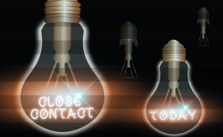 Handwriting text writing Close Contact. Conceptual photo having a history of direct exposure to a casepatient Realistic colored vintage light bulbs, idea sign solution thinking concept