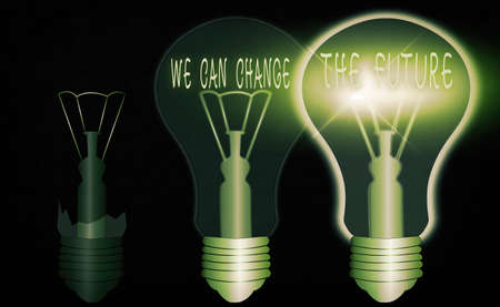 Conceptual hand writing showing We Can Change The Future. Concept meaning Make actions to achieve different results Realistic colored vintage light bulbs, idea sign solution