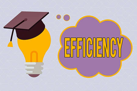 Text sign showing Efficiency. Business photo text ability to prevent a waste of resources energy money and time 3D Graduation Cap Thinking Resting on Bulb with Blank Cloud Thought Bubble