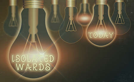 Conceptual hand writing showing Isolated Wards. Concept meaning far away from places or showing and having minimal contact Realistic colored vintage light bulbs, idea sign solution