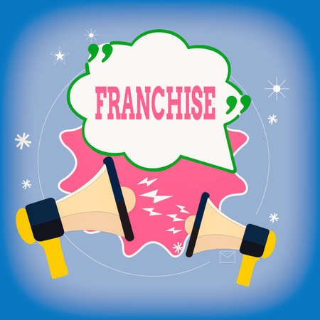 Writing note showing Franchise. Business concept for an authorization granted to an individual or group by a government Speech Bubble with Quotation Mark Megaphones shouting and Arguing Foto de archivo