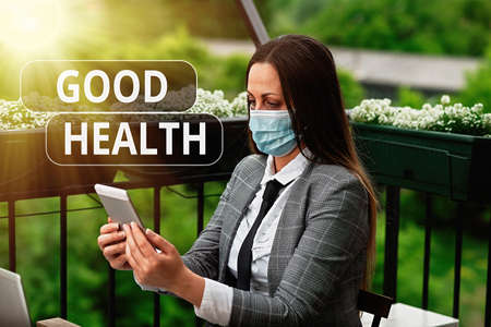 Word writing text Good Health. Business photo showcasing state of being vigorous and free from a bodily or mental disease Promoting health awareness with set of medical precautionary equipment