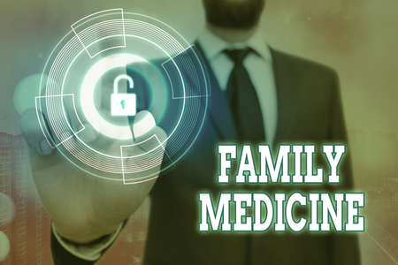 Handwriting text Family Medicine. Conceptual photo comprehensive health care for the individual and family Graphics padlock for web data information security application system