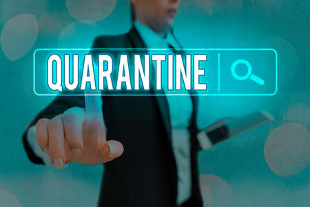 Conceptual hand writing showing Quarantine. Concept meaning restraint upon the activities of an individual or the transport of goods Web search digital futuristic technology network connection