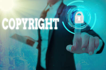 Text sign showing Copyright. Business photo text exclusive legal right to reproduce, publish, sell, or distribute Graphics padlock for web data information security application system