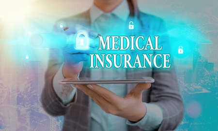 Handwriting text writing Medical Insurance. Conceptual photo system of financing the medical expenses of the insured Graphics padlock for web data information security application system