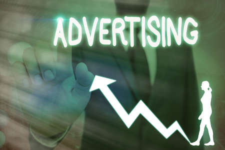 Conceptual hand writing showing Advertising. Concept meaning action of calling attention of the public by paid announcements Arrow symbol going upward showing significant achievement