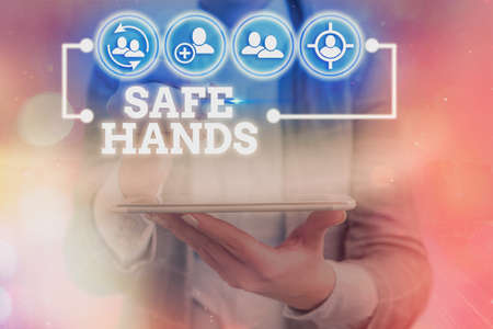 Writing note showing Safe Hands. Business concept for Ensuring the sterility and cleanliness of the hands for decontamination Information digital technology network infographic elements