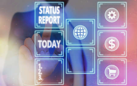 Word writing text Status Report. Business photo showcasing summarizes the particular situation as of a stated period Grids and different set up of the icons latest digital technology concept