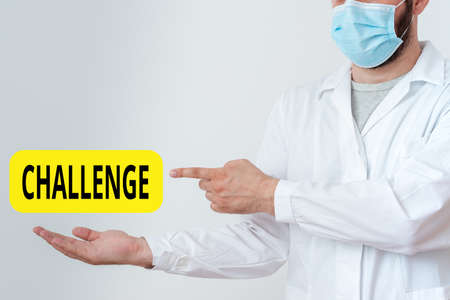 Word writing text Challenge. Business photo showcasing process of provoking or testing physiological activity by exposure Displaying Empty Sticker Paper Accessories Smartphone With Medical Gloves On