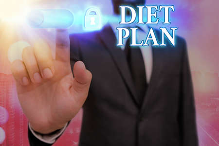 Text sign showing Diet Plan. Business photo text amount of food are planned out to achieve a specific weight Graphics padlock for web data information security application system