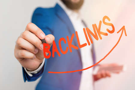 Writing note showing Backlinks. Business concept for links from one website to a page on another website or page Digital arrowhead curve denoting growth development concept