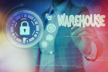 Writing note showing Warehouse. Business concept for structure or room for the storage of merchandise or commodities Graphics padlock for web data information security application system