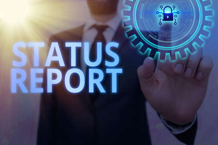 Writing note showing Status Report. Business concept for summarizes the particular situation as of a stated period Graphics padlock for web data information security application system