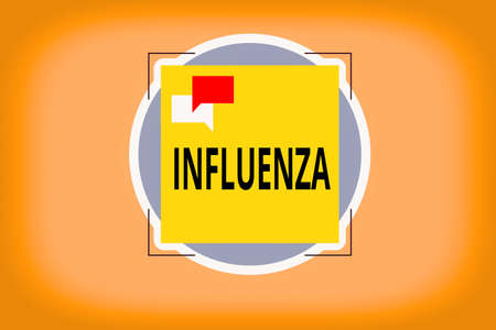 Writing note showing Influenza. Business concept for any of various respiratory infections of undetermined cause Two Speech Bubble Overlapping on Square Shape above a Circle