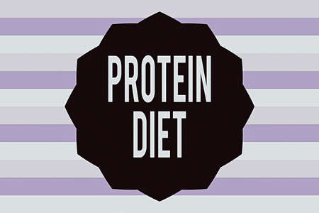 Text sign showing Protein Diet. Business photo showcasing consumption of highproteincontaining foods diet plan Twelve 12 Pointed Star shape Dodecagon in Solid Color Zigzag effect Polygon