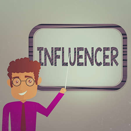 Writing note showing Influencer. Business concept for the an individual who inspires or guides the actions of others Man Standing Holding Stick Pointing to Wall Mounted Blank Color Board