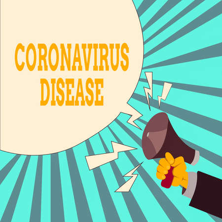 Writing note showing Coronavirus Disease. Business concept for defined as illness caused by a novel virus SARSCoV2 Male Hu analysis Hand Holding Megaphone Blank Speech Bubble