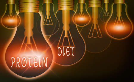 Text sign showing Protein Diet. Business photo text consumption of highproteincontaining foods diet plan Realistic colored vintage light bulbs, idea sign solution thinking concept Foto de archivo