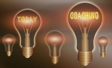 Conceptual hand writing showing Coaching. Concept meaning to instruct, direct, or prompt as a coach to subordinates Realistic colored vintage light bulbs, idea sign solution Фото со стока