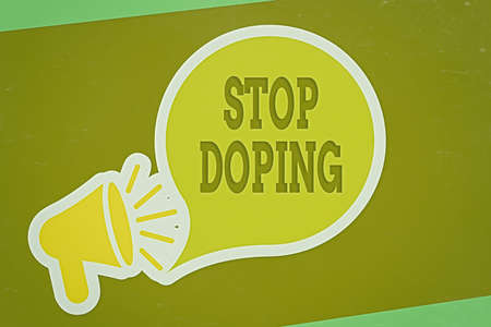 Writing note showing Stop Doping. Business concept for quit the use of banned athletic performanceenhancing drugs Megaphone with Loudness icon and Blank Speech Bubble in Sticker Style