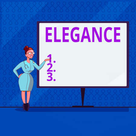 Handwriting text writing Elegance. Conceptual photo scientific precision, neatness, and simplicity of something Female Doctor with Stethoscope Standing Hand Presenting Blank Whiteboard