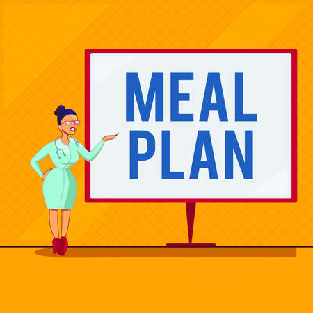 Handwriting text Meal Plan. Conceptual photo act of taking time to plan any number of meals for the week Female Doctor with Stethoscope Standing Hand Presenting Blank Whiteboard