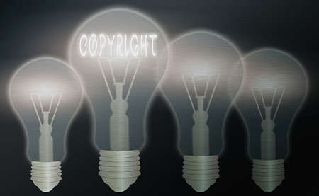 Text sign showing Copyright. Business photo text exclusive legal right to reproduce, publish, sell, or distribute Realistic colored vintage light bulbs, idea sign solution thinking concept