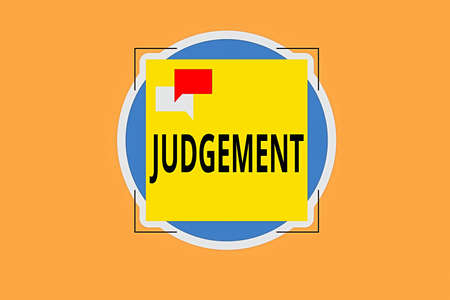 Writing note showing Judgement. Business concept for process of forming an evaluation by discerning and comparing Two Speech Bubble Overlapping on Square Shape above a Circle Imagens