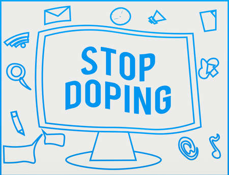 Handwriting text writing Stop Doping. Conceptual photo quit the use of banned athletic performanceenhancing drugs Web Application Software icons Surrounding Blank Mounted Computer Monitor