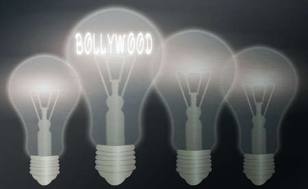 Text sign showing Bollywood. Business photo text Hollywood, refers to the Hindi language movie industry in India. Realistic colored vintage light bulbs, idea sign solution thinking concept Banco de Imagens