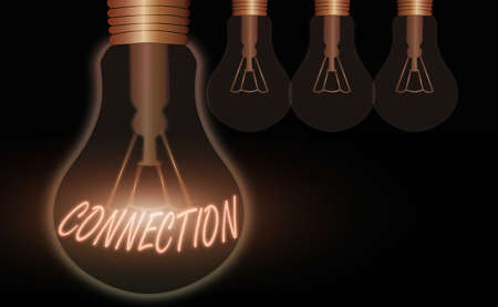 Conceptual hand writing showing Connection. Concept meaning relationship in which an individual, thing is linked to something else Realistic colored vintage light bulbs, idea sign solution