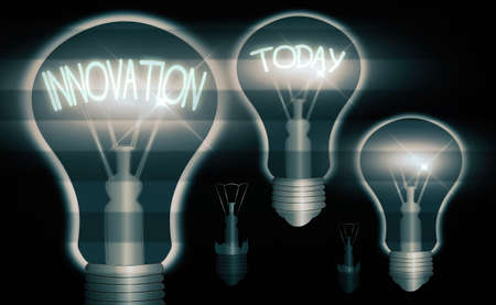 Text sign showing Innovation. Business photo text the application of better solutions that meet new requirements Realistic colored vintage light bulbs, idea sign solution thinking concept