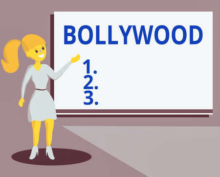 Conceptual hand writing showing Bollywood. Concept meaning Hollywood, refers to the Hindi language movie industry in India. Wo analysis Presenting Audio Visual Blank Projector Screen Banco de Imagens