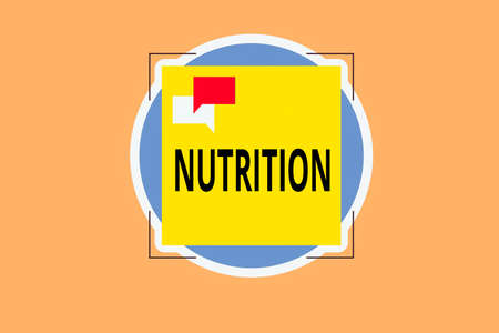 Writing note showing Nutrition. Business concept for act or process of nourishing or being nourished by nutrients Two Speech Bubble Overlapping on Square Shape above a Circle
