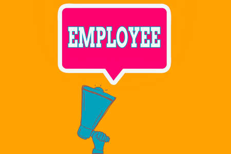 Writing note showing Employee. Business concept for one employed by another usually for wages or salary below the executive Hu analysis Hand Holding Upward Megaphone Speech Bubble 版權商用圖片