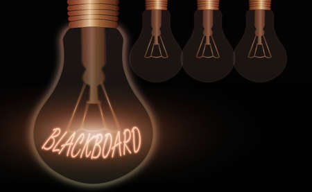 Conceptual hand writing showing Blackboard. Concept meaning hard smooth usually dark surface used especially in a classroom Realistic colored vintage light bulbs, idea sign solution