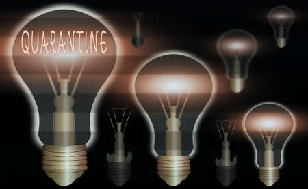 Conceptual hand writing showing Quarantine. Concept meaning restraint upon the activities of an individual or the transport of goods Realistic colored vintage light bulbs, idea sign solution