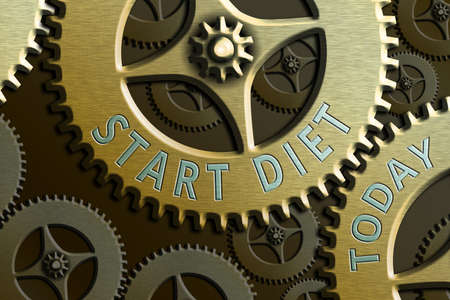 Text sign showing Start Diet. Business photo showcasing the practice of eating food in a regulated and supervised fashion System Administrator Control, Gear Configuration Settings Tools Concept