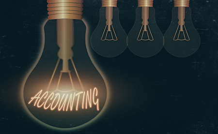 Conceptual hand writing showing Accounting. Concept meaning system of summarizing business and financial transactions Realistic colored vintage light bulbs, idea sign solution