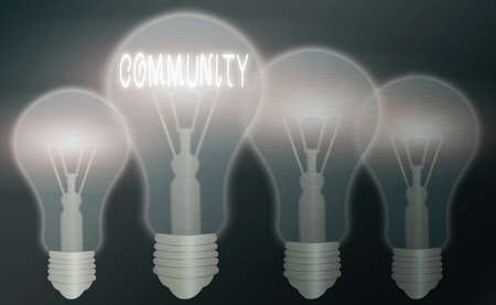Text sign showing Community. Business photo text with a common characteristic or interest living together Realistic colored vintage light bulbs, idea sign solution thinking concept