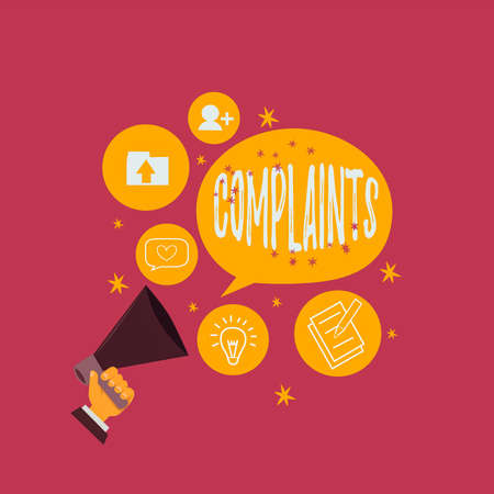 Text sign showing Complaints. Business photo showcasing something that is the cause or subject of protest or outcry Hu analysis Hand Holding Megaphone Talking Different Topic and Speech Bubble