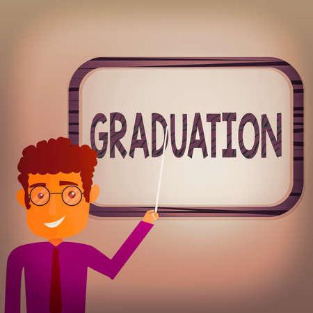 """写写""""毕业""""的纸条。为授予或接受学位或文凭的商业概念男人站着拿着棍棒指着挂在墙上的空白彩色板"""