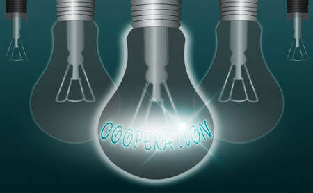 Writing note showing Cooperation. Business concept for actions of someone who is being helpful by doing what is wanted Realistic colored vintage light bulbs, idea sign solution