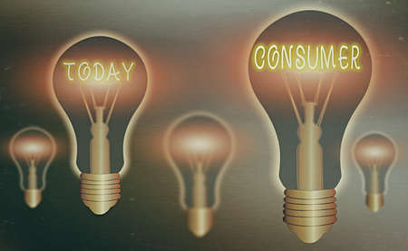Conceptual hand writing showing Consumer. Concept meaning one that utilizes economic goods that are sold by manufacturers Realistic colored vintage light bulbs, idea sign solution