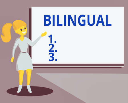 Conceptual hand writing showing Bilingual. Concept meaning using or able to use two languages especially with equal fluency Wo analysis Presenting Audio Visual Blank Projector Screen Imagens